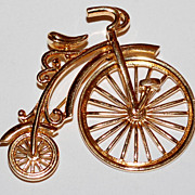 SALE Penny-Farthing Moving Goldtone Brooch/Pin