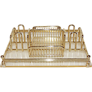 SOLD Mid-Century Modern Lucite Goldtone Desk Organizer/Tray - Red Tag Sale Item