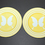 SALE 1975 Fitz and Floyd ~ Yellow Striped Butterfly Plates ~ Set of 2