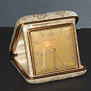 SALE 1950/60s Semca ~ Travel Alarm Clock w/ Brocade Case