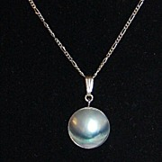 SALE 1950s Blister Pearl Pendant Sterling 925 Necklace