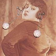 SALE Art Deco Carved Celluloid Dangle Screwback Earrings