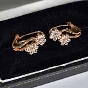 SALE Sterling w/ Gold Vermeil CZ Leverback Earrings