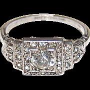 SALE Art Deco Ziggurat Paste & Sterling Ring