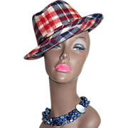 SALE 1950/60s United Hatters ~ Plaid Wool Unisex Fedora Hat