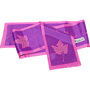 "SALE Nasharr Freres 40"" Long Purple & Fuchsia Pink Leaf Scarf"