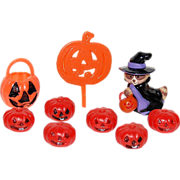 SALE Hallmark ~ Set of 9 Witch & Pumpkin Cupcake Toppers