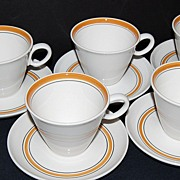 SALE 1960s Franciscan Pickwick ~ 10 Pc Cup/Saucer Set