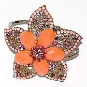 SALE 1980s Rhinestone & Faux Coral Flower Clamper Bracelet