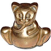 SALE Vintage Brass Cat Licking Paw Paperweight