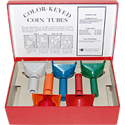 SALE 1950/60s Color-Keyed Coin Tubes w/ Original Box