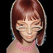 SALE 1960s French Pearly White Lucite & Aurora Borealis Rhinestone Eyeglasses w/ Case