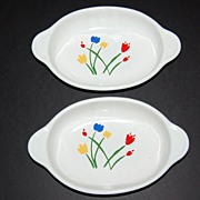 1980s Interpur ~ Stylized Tulips Casserole Dishes ~ Set of 2