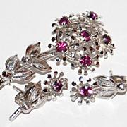 SALE 1950/60s TK Sterling & Amethyst Flower Pin & Earrings Set