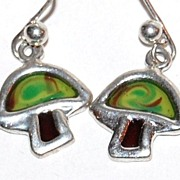 SALE 1960/70s Silvertone Mushroom Dangle Earrings
