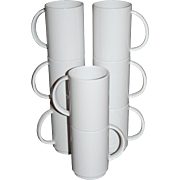 SALE Vintage 8-Pc White Melamine Stackable Mug Set