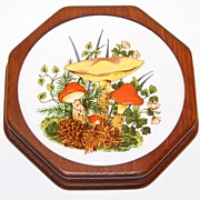 SALE 1970s Mushroom Trivet or Wall Decor
