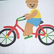 SALE 1980s Springmaid ~ Teddy Bear on Bicycle Bath Towel