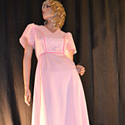 SALE 1970s E'n C Jr ~ Easter Pink Eyelet Maxi Dress