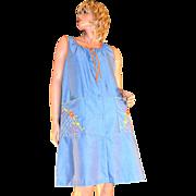 SALE 1970s Embroidered Blue Denim-Style Orange Trim Duster Dress