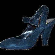 SALE 1970/80s Delman ~ Blue Suede Buckle Platform Heels