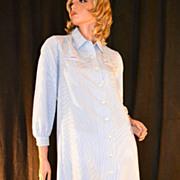 SALE 1970s Serbin ~ Blue & White-Striped Collar Dress