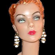 SALE 1970s White Bead Cluster Goldtone Leaf Dangle Earrings