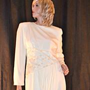 SALE 1980s Rina di Montella ~ Cream Faux Pearl & Sequin Dress