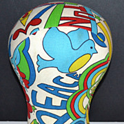 SOLD 1960s Groovy Peace & Love Fabric Mannequin Head