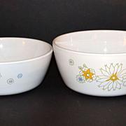 SALE 1970s Corning ~ Set of 2 Floral Bouquet Sauce Pans