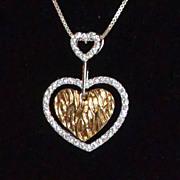 SALE 1980s Sterling Vermeil CZ Heart Pendant Necklace