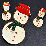 SALE Signed Enamel Snowman Earrings & Pin/Brooch
