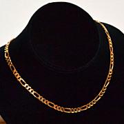 SALE 17G Italian Sterling Vermeil Figaro Necklace