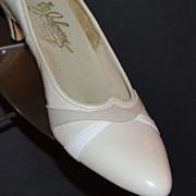 SALE 1970s Johansen ~ Taupe/White Snakeskin Heels