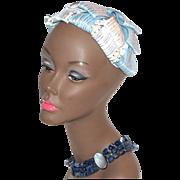 1940s Baby Blue & White Flower Hair Topper Hat