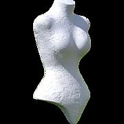 SALE Carved Rose Mannequin Dress Form w/ Red Metal Leaf Stand
