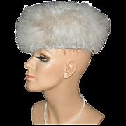 SALE Zucker ~ Dramatic Fluffy Beige Marabou Feather Hat