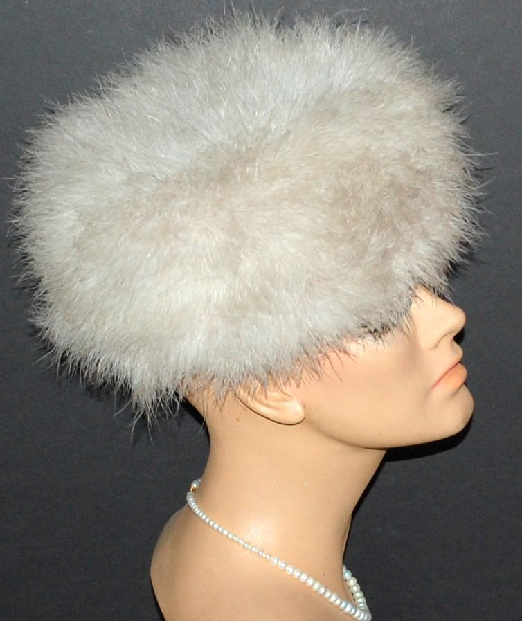Zucker Dramatic Fluffy Beige Marabou Feather Hat From Kitschandcouture On Ruby Lane