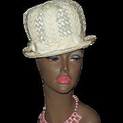 1960s Carol Ann ~ Mod Cream White Straw Hat