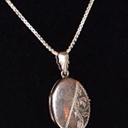SALE 1950s Etched Sterling Locket Pendant Necklace