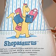 "SALE 1986 ""Shopasaurus"" Fabric Kitchen Apron"
