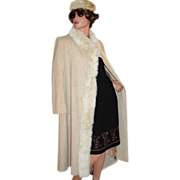 SALE 1970s ILGWU Prime Source ~ Cream Wool & Rabbit Fur Coat