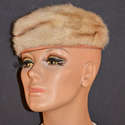 SALE 1950s Freiman ~ Honey Brown/Beige Fur Pillbox Hat