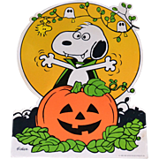 SALE 1965 Peanuts Snoopy with Halloween Jack-o-Lantern Cardboard Die Cut