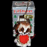SALE Jasco Li'l Chimer Pup Bisque Christmas Bell Ornament w/ Box