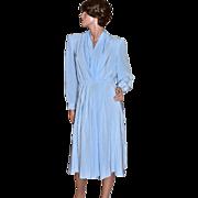 SALE 1970s Lilli Ann ILGWU Sky Blue Pleated V-Neck Dress