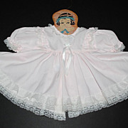 SOLD 1970/80s Alexis ~ Powder Pink Lace Baby or Doll Dress