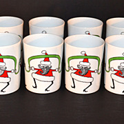 SALE 1980s Fitz and Floyd ~ Set of 8 Variations Dancing Santa Mugs w/ Box