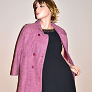 SALE VTG Rothschild ~ Double-Breasted Pink & Purple Houndstooth Wool Coat