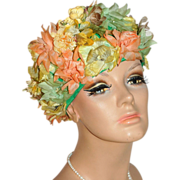 SALE 1950/60s Roberta Bernay ~ Flower Hat w/ Faux Pearl Spray Accent